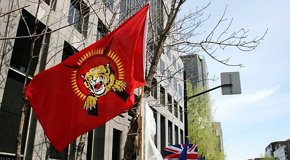 File photo of a LTTE flag being waved during a pro-LTTE protest in London
