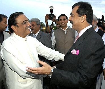 Pakistan's Prime Minister Yusuf Raza Gilani with President Asif Ali Zardari