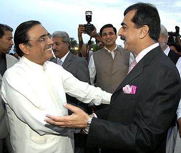 Pakistan's Prime Minister Yusuf Raza Gilani with President Asif Ali Zardari