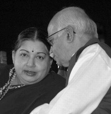 Tamil Nadu Chief Minister Jayalalithaa with senior BJP leader LK Advani