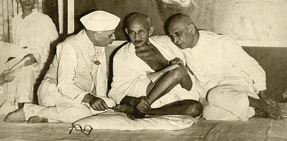 Sardar Patel and Pandit Nehru with Mahatma Gandhi
