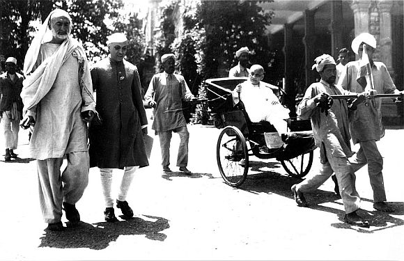 File photo shows Nehru with Khan Abdul Ghaffar Khan. Also seen on the right is Sardar Patel