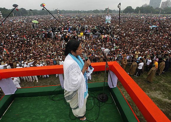 Trinamool Congress chief Mamata Banerjee addresses her supporters during a rally in Kolkata