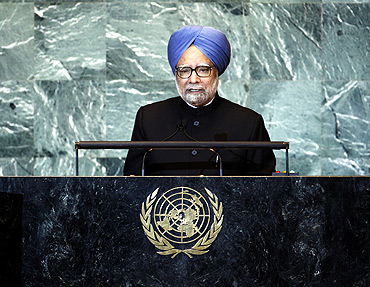 Dr Singh addresses the 66th United Nations General Assembly at the UN headquarters in New York