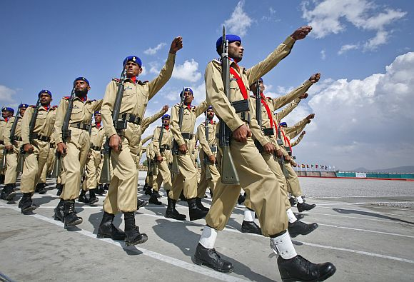 Pakistani army cadets march during passing out parade in Quetta