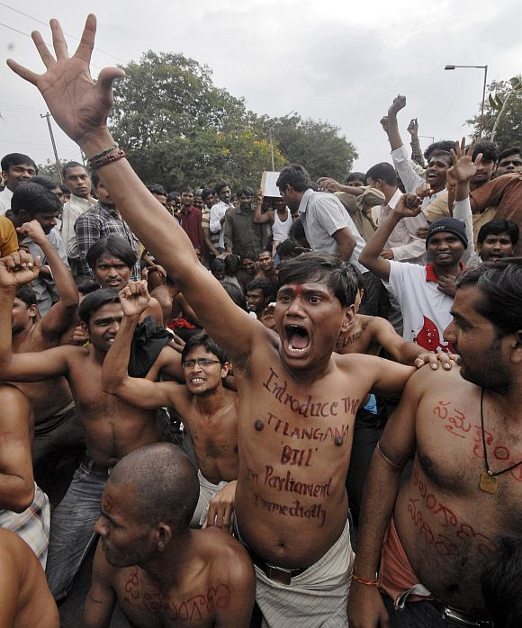 Pro-Telangana students protest for a separate state in Hyderabad