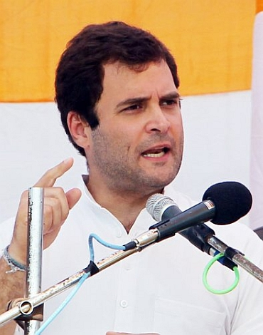 Congress General Secretary Rahul Gandhi addresss a rally in Uttar Pradesh