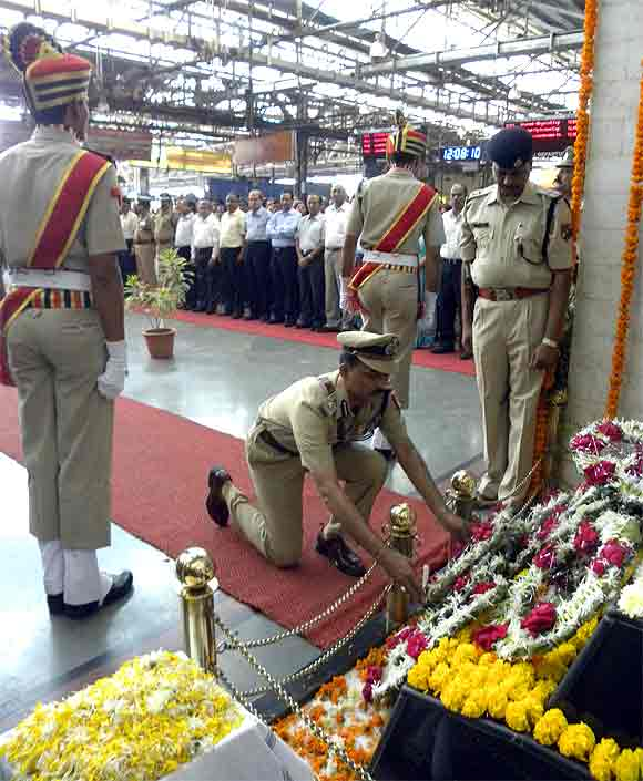 RPF troopers pay their respects at the CST memorial