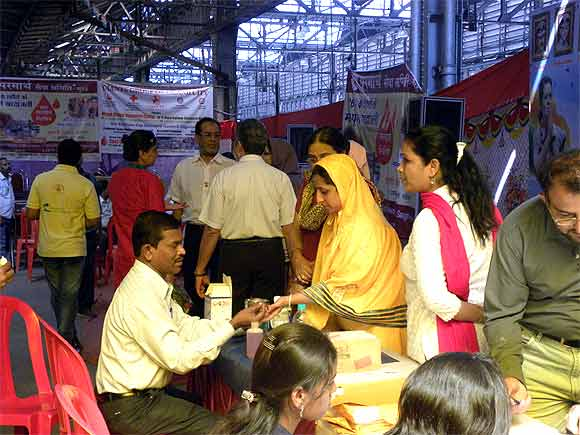 The blood donation camp at CST