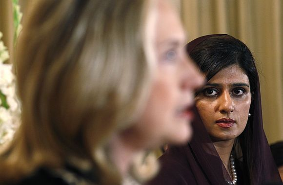 File picture of US Secretary of State Hillary Clinton speaking as her Pakistani counterapart Hina Rabbani Khar listens, in Islamabad