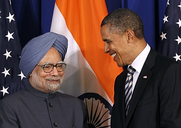 US President Barack Obama meets with Prime Minister Manmohan Singh on the sidelines of the ASEAN Summit in Nusa Dua, Bali