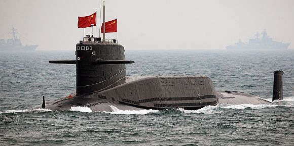A Chinese submarine patrols the South China Sea