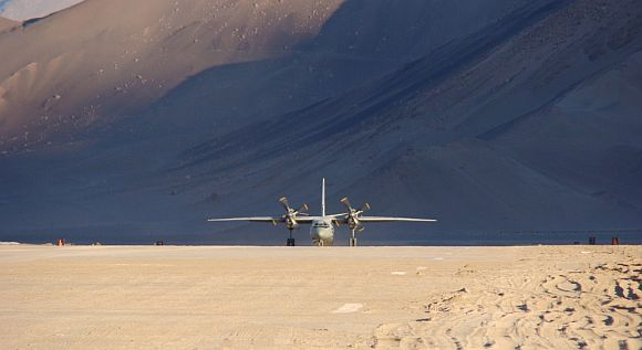 An Indian Air Force aircraft lands at the Advanced Landing Ground at Nyoma, Ladakh