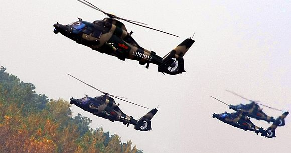 File photo of Chinese attack helicopters