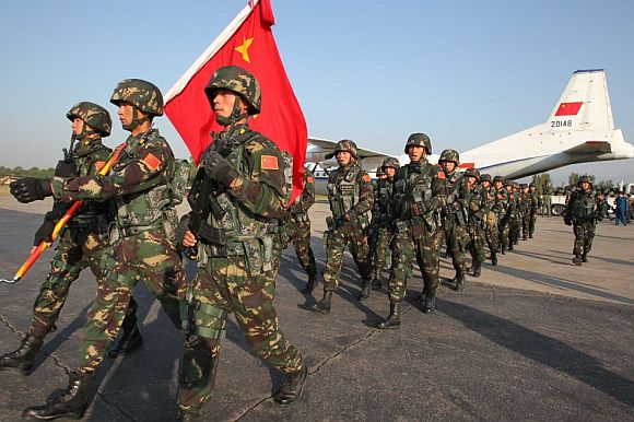 File photo shows soldiers of the Chinese People's Liberation Army taking part in a drill