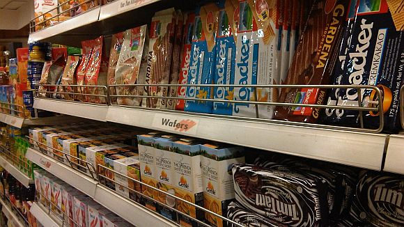 Food stocked at an Indian hypermart