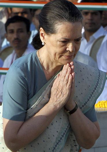 Congress party chief Sonia Gandhi pays homage at the Mahatma Gandhi memorial
