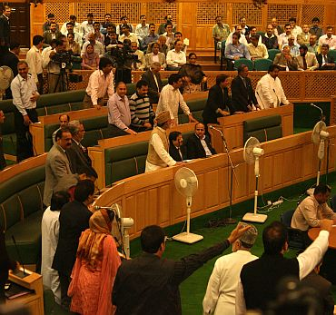 Pandemonium in J&K assembly over NC worker's death on Monday