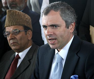 CM Omar Abdullah speaks to mediapersons in the assembly premises later on Monday