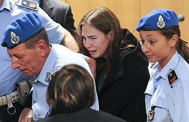 Amanda Knox after hearing the verdict during her appeal trial in Perugia