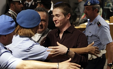 Raffaele Sollecito after the verdict was read during his appeal trial in Perugia
