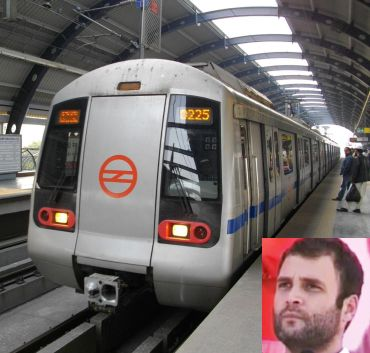 Rahul Gandhi takes the Delhi Metro, hires cab to rally