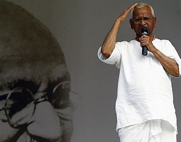 File picture of Anna Hazare fasting for a stronger Lokpal Bill at the Ramlila Ground in New Delhi
