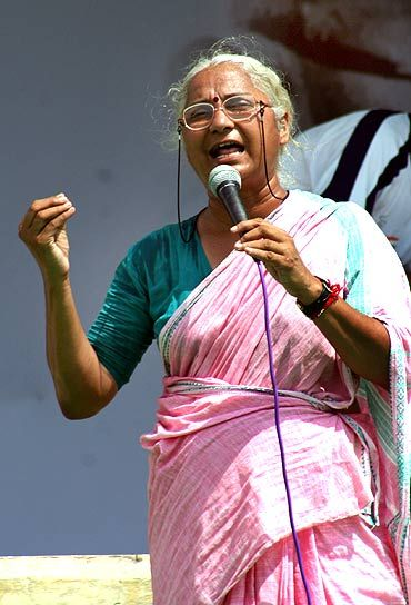 Social activist and Team Anna member Medha Patkar at Ramlila Ground