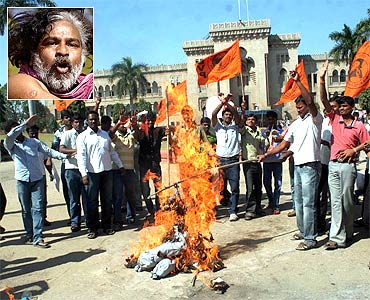 A protest for Telangana and (inset) Gummadi Vittal Rao