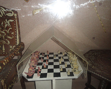 A chess set made of ivory