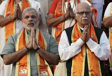 Gujarat CM Narendra Modi with senior BJP leader LK Advani