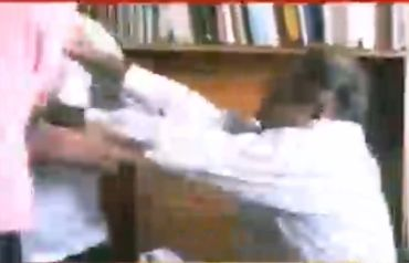 A TV grab of the attack on Prashant Bhushan