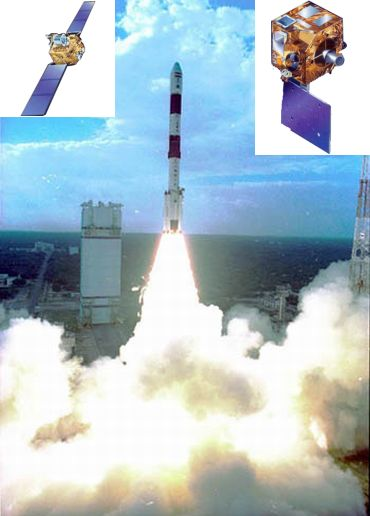 PSLV C-4 (Inset Left) Technology Experiment Satellite (Inset Right) KALPANA-1