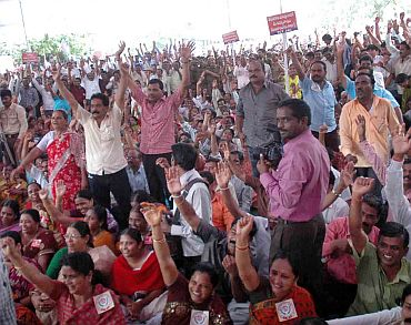 Telangana supporters at the rally