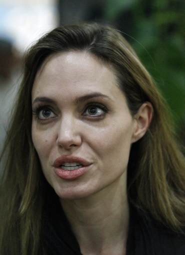 Angelina Jolie speaks during an interview in Misrata