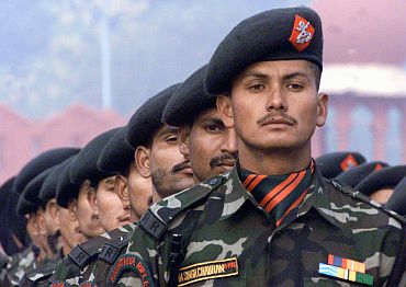 Rashtriya Rifles soldiers participating in the Republic Day parade