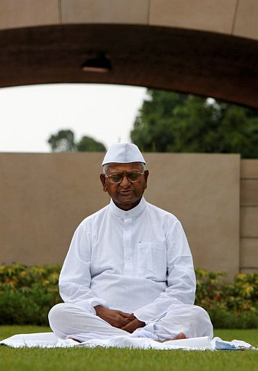 Anna Hazare meditating at Rajghat before he set on his historic fast in August 2011