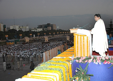 Mayawati addresses crowds gathered for the opening of the memorial in Noida on Friday