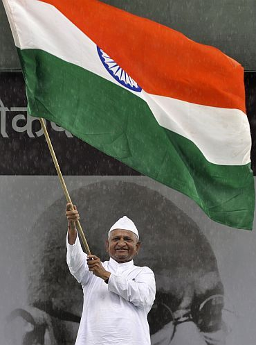 Anna Hazare during his fast at Delhi's Ramlila Maidan to press for a stronger Lokpal Bill