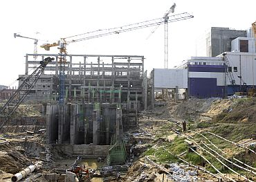 A general view shows ongoing construction for a prototype fast breeder reactor is pictured at the Indira Gandhi Centre for Atomic Research in Kalpakkam, Tamil Nadu
