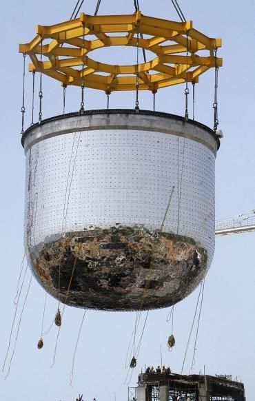 A nearly 200 ton nuclear reactor safety vessel is erected at Indira Gandhi Centre for Atomic Research at Kalpakkam