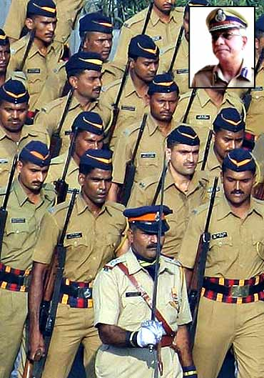 Mumbai police force during a parade. (Inset) D G P K Subrahmanyam