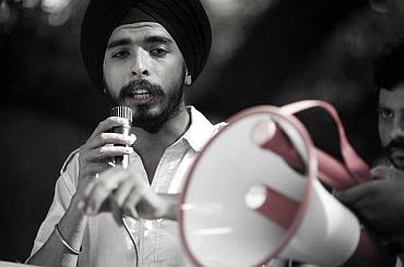 Tajinder Pal Singh Bagga at a rally