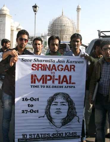 The Armed Forces (Special Powers) Act is one of the many issues against which A-List raps. Seen here are anti-Armed Forces Special Powers Act activists in Srinagar.