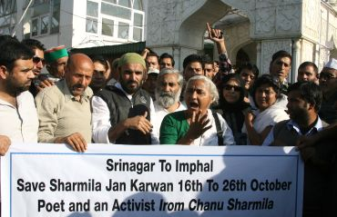 Social activist Medha Patkar with anti-Armed Forces Special Powers Act activists