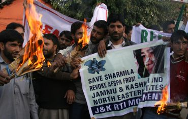 Anti-Armed Forces Special Powers Act activists in Srinagar