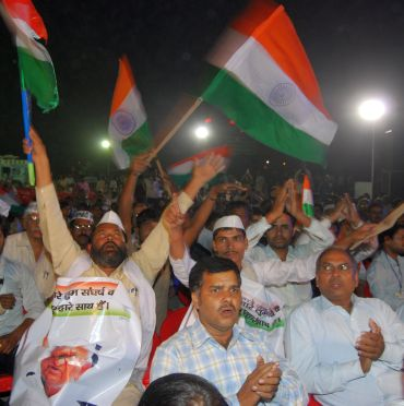 A rally in support of Anna Hazare's anti-corruption movement