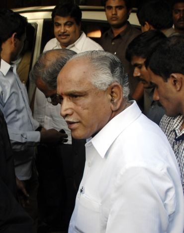 A file photo of Yeddyurappa with BJP president Nitin Gadkari
