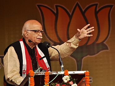 Advani addresses a rally in Guwahati on Thursday as a part of his country wide Jan Chetna Yatra