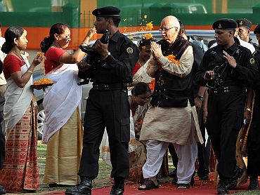 Advani greeted on his visit to Guwahati to address a rally during his all India Jan Chenta Yatra on Thursday
